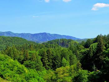 旅館今井屋に向かう坂の上から釜戸地区の山々を望む